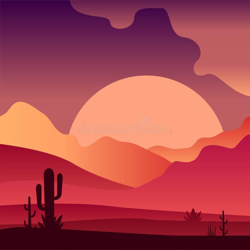 Vista no por do sol na paisagem arenosa do deserto com plantas do cacto Inclinações cor-de-rosa e roxos Projeto do vetor para o j ilustração royalty free