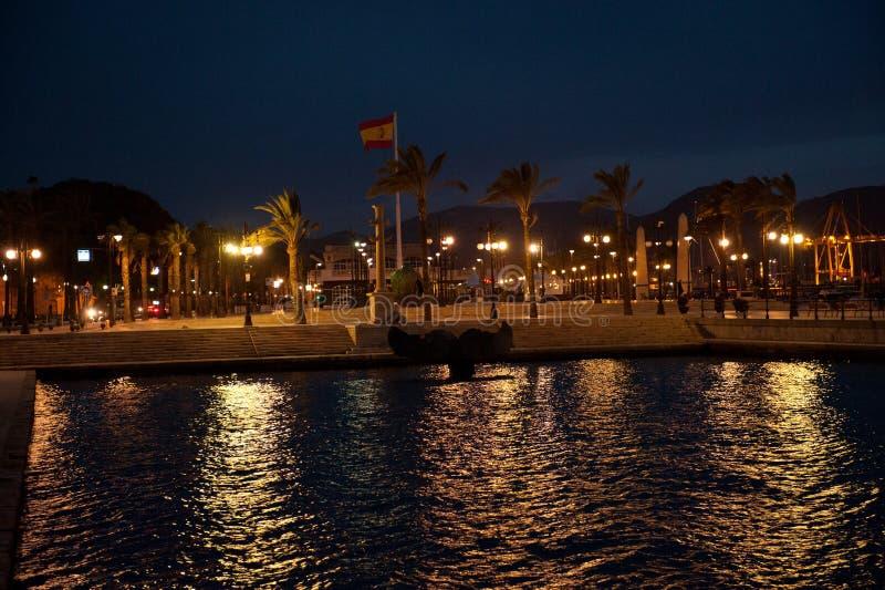 Vista no porto e no porto em Cartagena, Espanha fotos de stock
