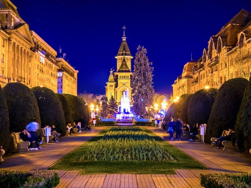 Vista no quadrado principal em Timisoara na noite foto de stock royalty free