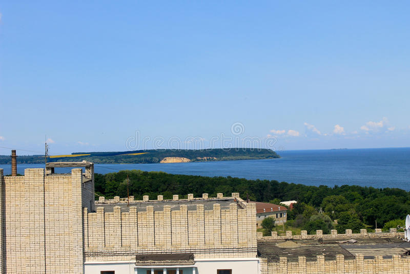 Vista no rio Dnieper em Svetlovodsk, Ucrânia imagens de stock royalty free
