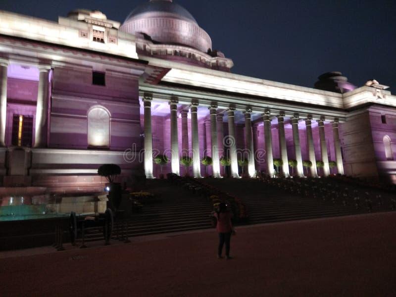Vista nocturna de la casa del presidente fotografía de archivo libre de regalías