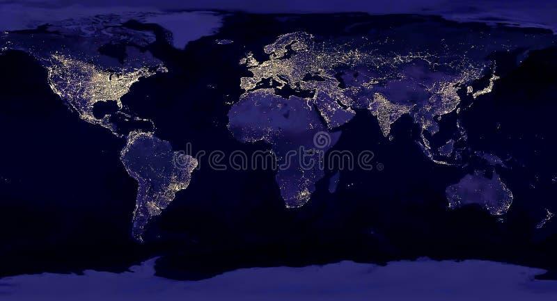 Vista nocturna de la tierra del mapa del espacio con observaciones basadas en los satélites de las luces de la ciudad Los 'elemen foto de archivo libre de regalías