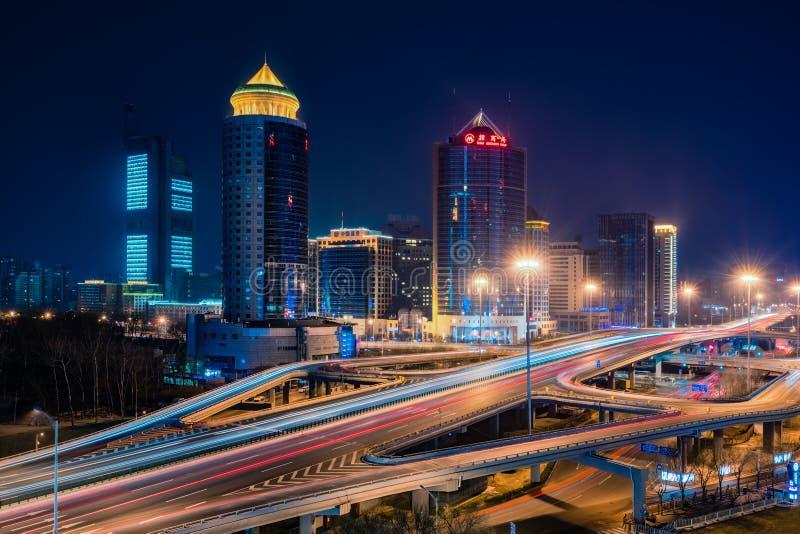 Vista nocturna de Pekín CBD foto de archivo