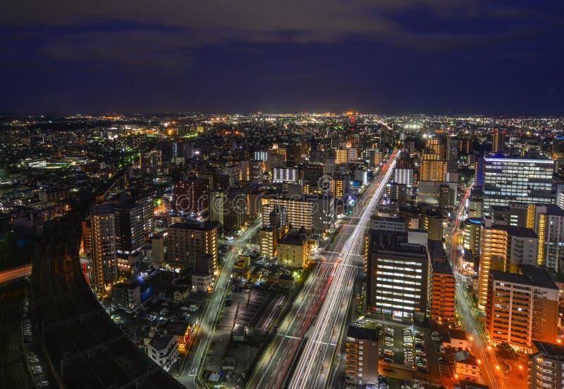 Vista nocturna de Sendai, Japón fotografía de archivo