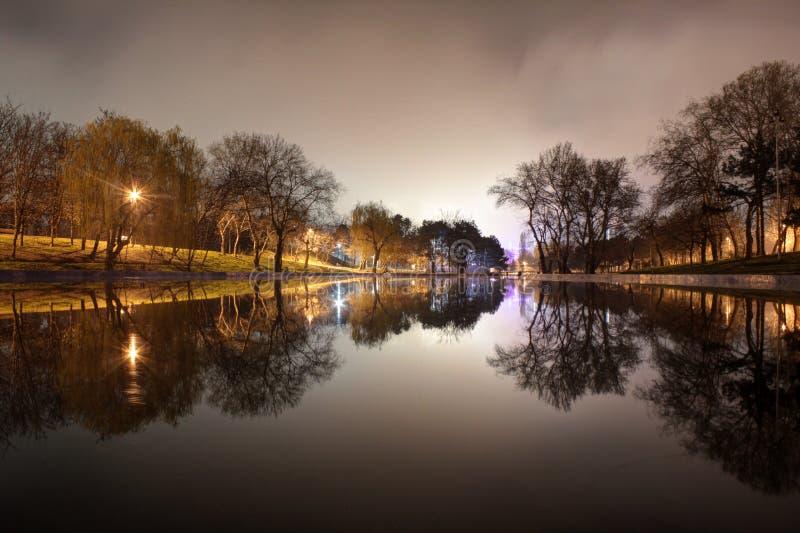 Vista nocturna del parque y del lago foto de archivo libre de regalías