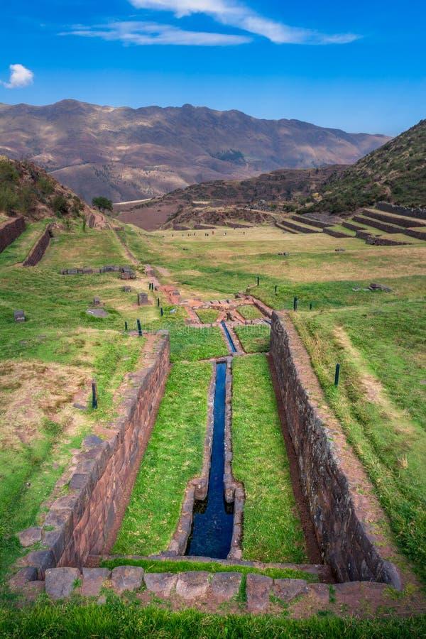 Vista nos canais da água, sistema de irrigação usado por Incas imagem de stock