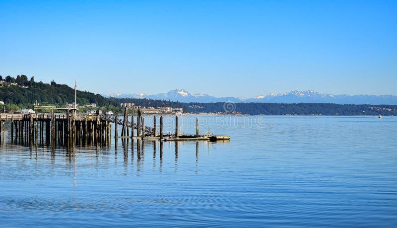 Vista ocidental do parque chinês da reconciliação de Tacoma em Washington imagem de stock