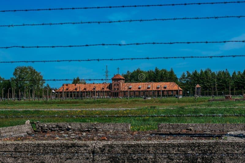 Vista a Office y a la vivienda de Birkenau del comandante para el hombre de los SS fotografía de archivo