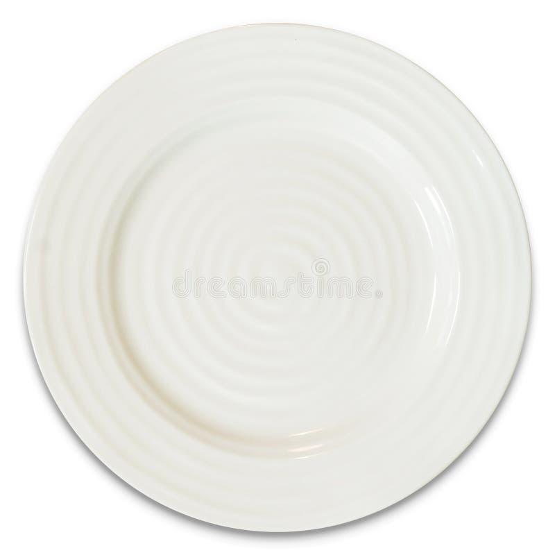 Vista Op do prato vazio isolada em um fundo branco imagens de stock