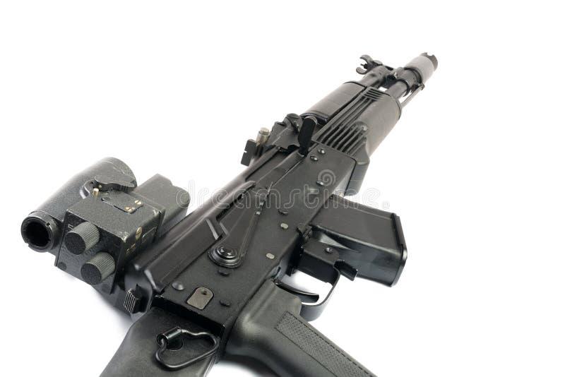 Vista ottica sulla mitragliatrice del Kalashnikov fotografia stock
