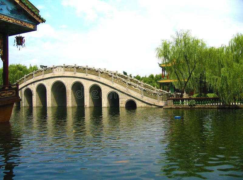Vista pacifica di un ponte del cinese tradizionale in un parco del cinese tradizionale fotografia stock libera da diritti