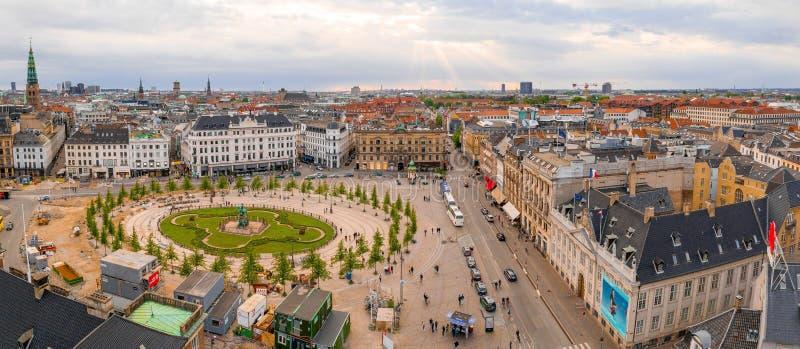 Vista panorámica aérea de la ciudad de Copenhague imagen de archivo