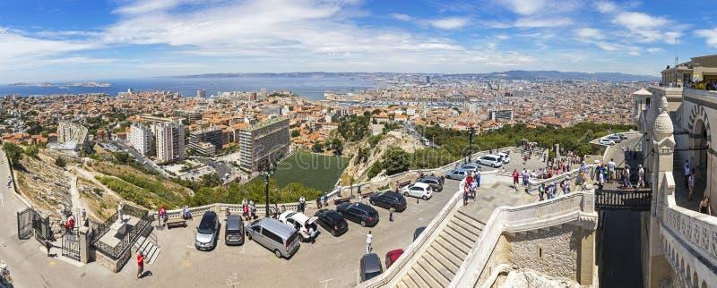 Vista panorámica aérea de la ciudad de Marsella, Francia fotografía de archivo