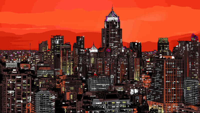 Vista panorámica de Bangkok moderna libre illustration