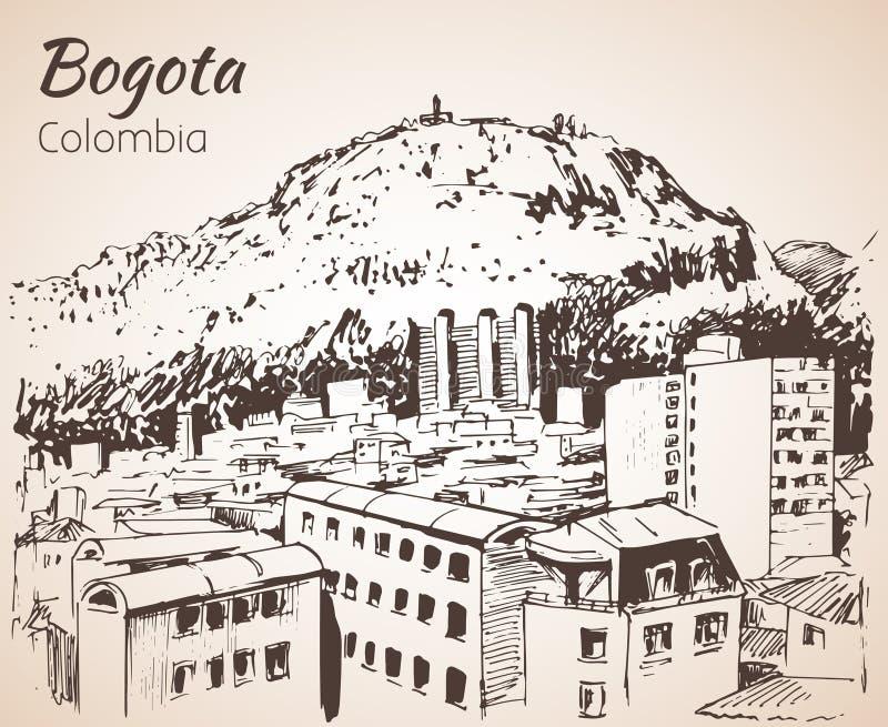 Vista panorámica de Bogotá bosquejo libre illustration
