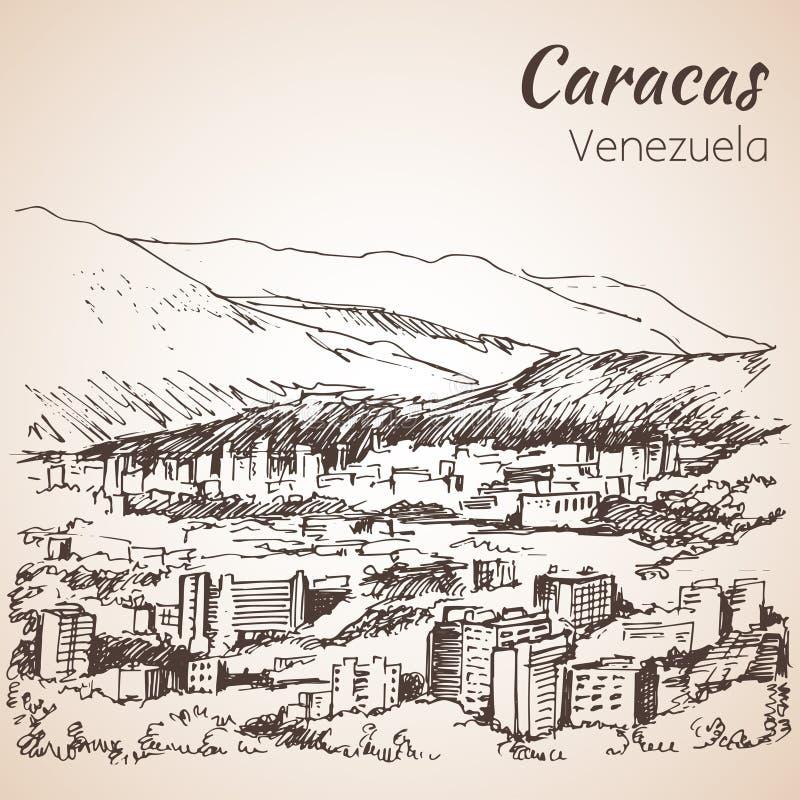 Vista panorámica de Caracas, Venezuela bosquejo ilustración del vector