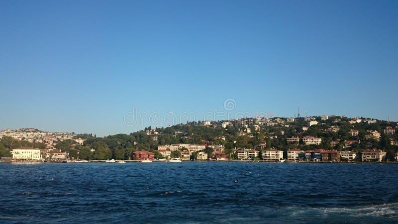 Vista panorámica de Estambul Paisaje urbano del panorama del canal turístico famoso del estrecho de Bosphorus del destino Paisaje imagen de archivo