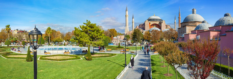 Vista panorámica de Hagia Sophia en Estambul, Turquía fotografía de archivo libre de regalías