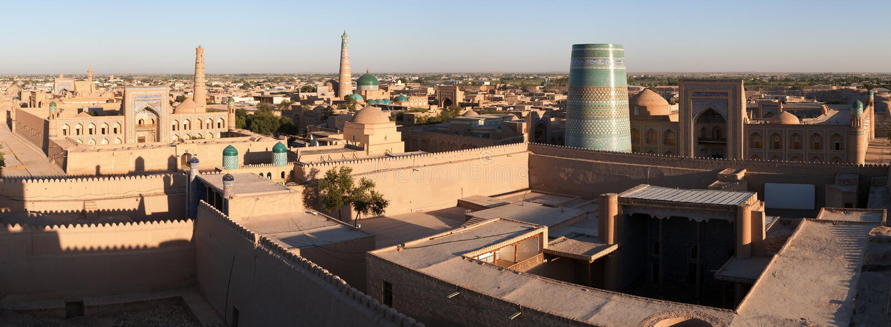Vista panorámica de Khiva - Uzbekistán fotos de archivo libres de regalías