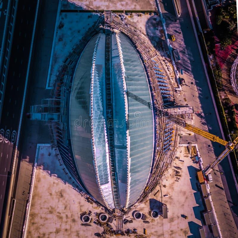 Vista panorámica de la ciudad de ciencias y de artes, en Valencia, España imagenes de archivo