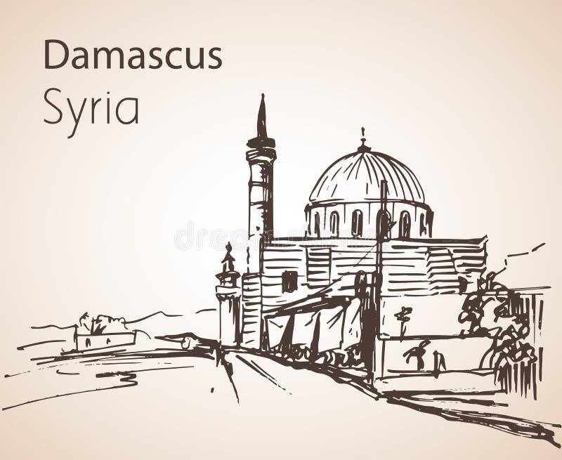 Vista panorámica de la ciudad Damaskus, Sinan Pasha Mosque, Siria Sket libre illustration