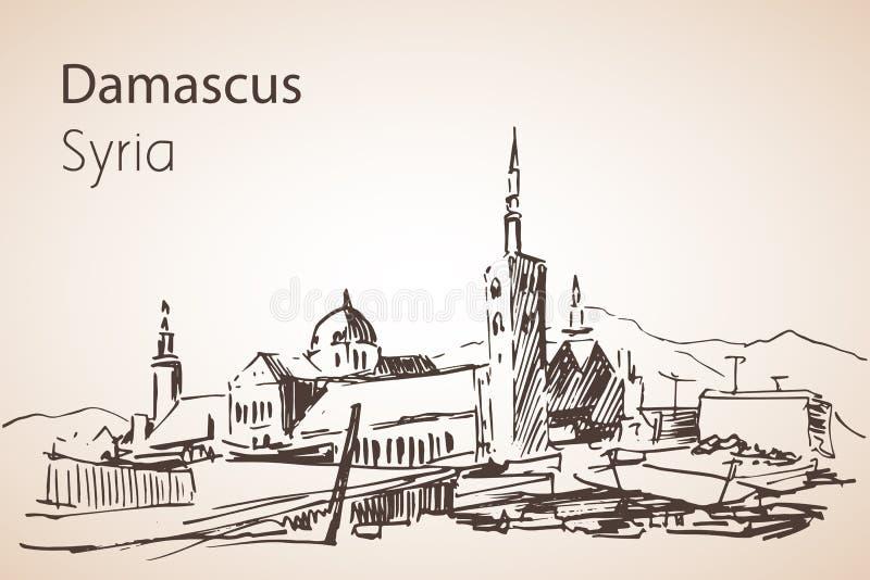 Vista panorámica de la ciudad Damaskus, Siria bosquejo stock de ilustración