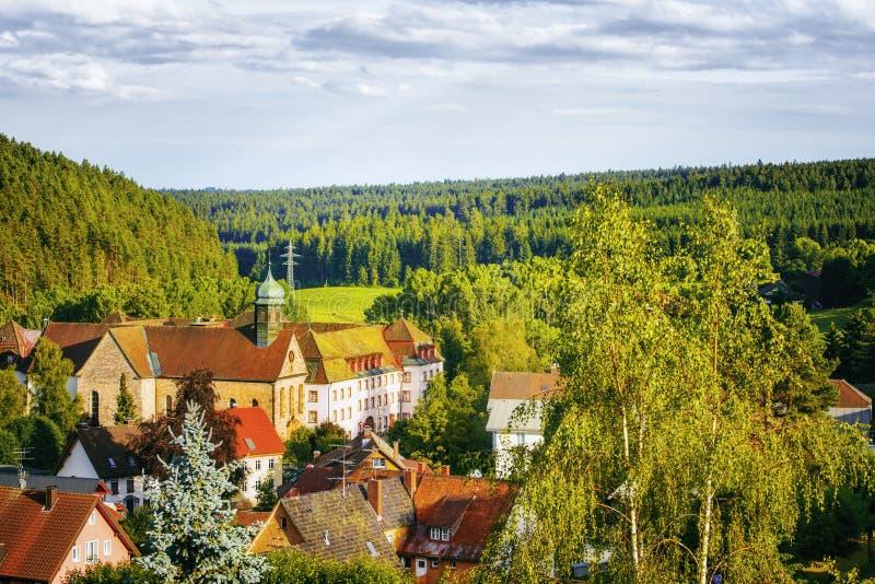Vista panorámica de la ciudad Friedenweiler Región negra de ForestBaden-wuerttemberg alemania fotografía de archivo libre de regalías