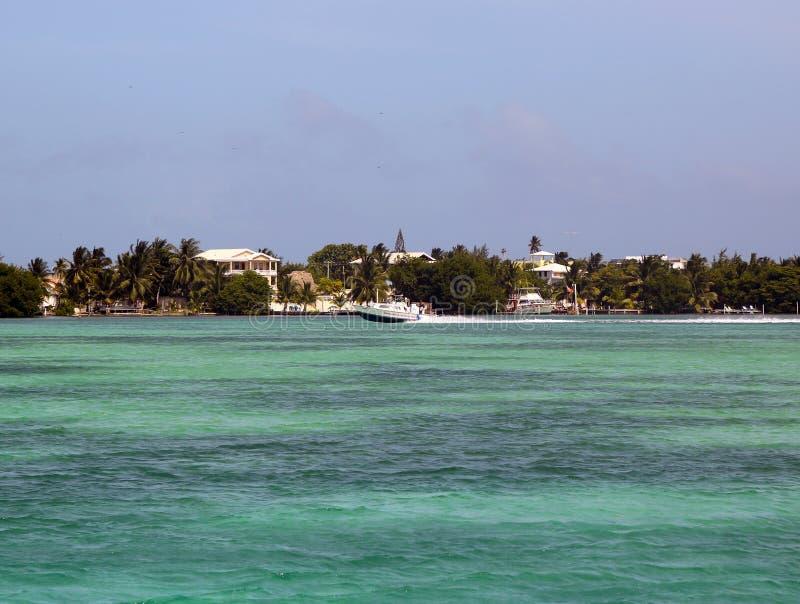 Vista panorámica de la costa del calafate de Caye en Belice imagen de archivo libre de regalías