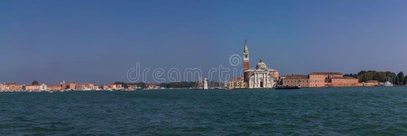 Vista panorámica de la iglesia de San Giorgio Maggiore y laguna veneciana, Italia fotografía de archivo
