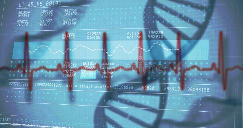 Vista panorámica de la información de la investigación genética en la pantalla stock de ilustración