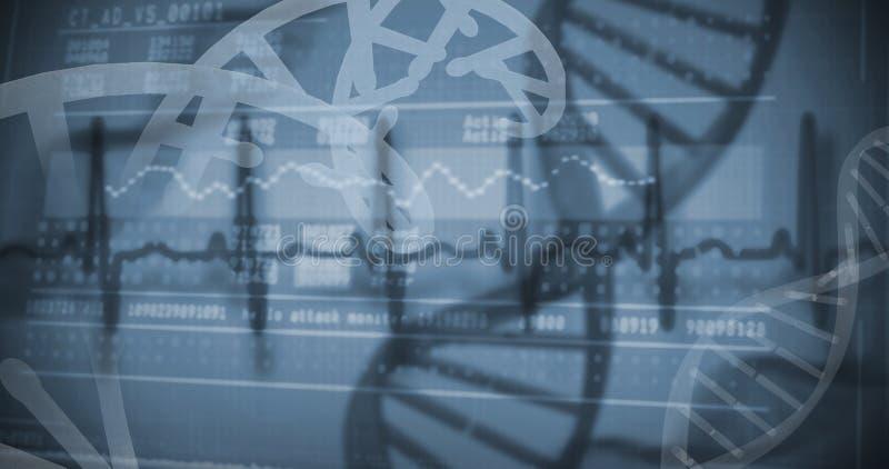 Vista panorámica de la información de la investigación genética en la pantalla imagenes de archivo