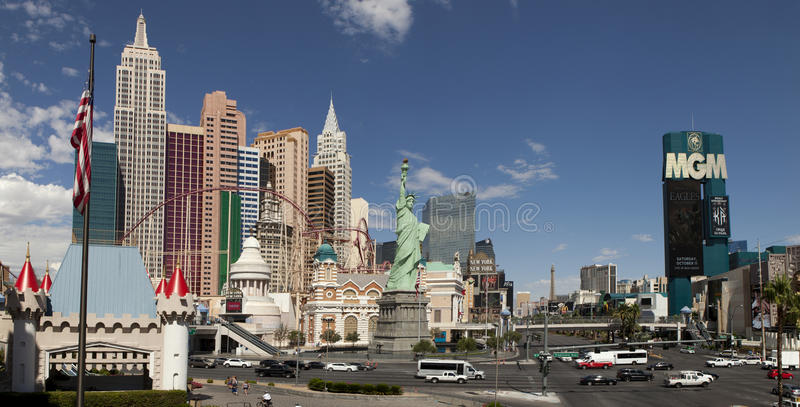 Vista panorámica de la nuevos York-nuevos York y casino de Mgm Grand imágenes de archivo libres de regalías