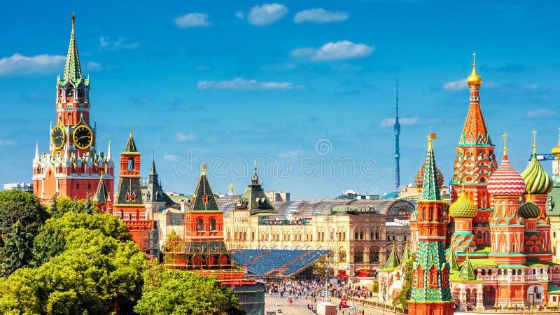 Vista panorámica de la Plaza Roja en Moscú, Rusia foto de archivo libre de regalías