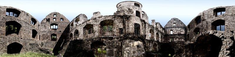 Vista panorámica de la ruina Schoenrain en el Spessart imagen de archivo libre de regalías