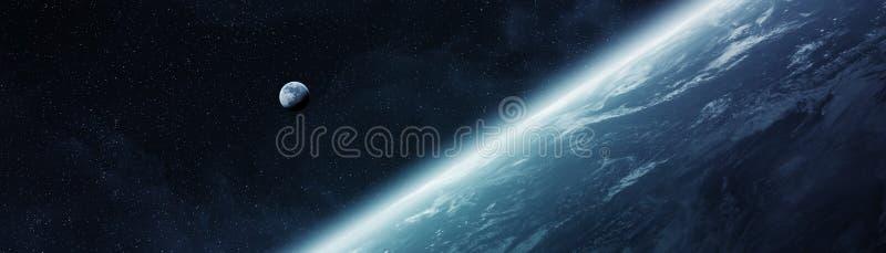 Vista panorámica de la tierra del planeta con los elemen de la representación de la luna 3D ilustración del vector