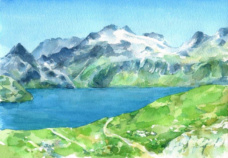 Vista panorámica de las montañas con los prados y el lago verdes frescos en el primero plano stock de ilustración