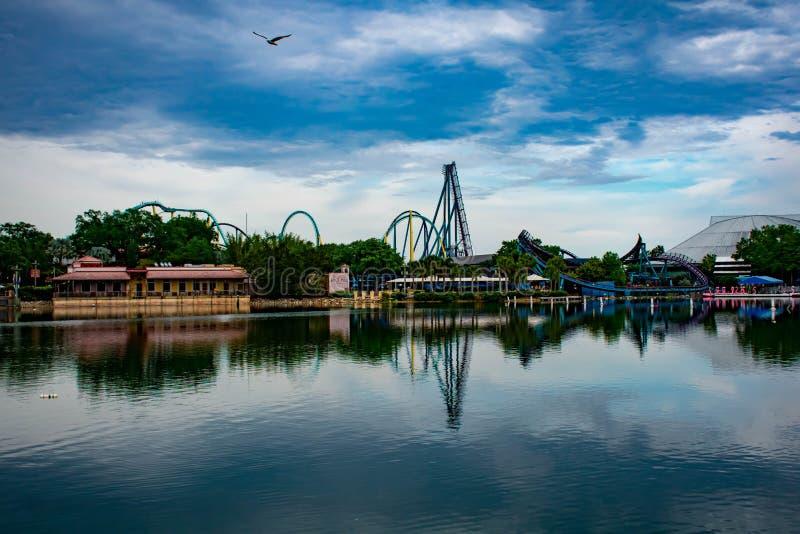 Vista panor?mica de los roller coaster de Kraken y del Mako, vuelo de la gaviota en paisaje hermoso en Seaworld en ?rea internaci foto de archivo