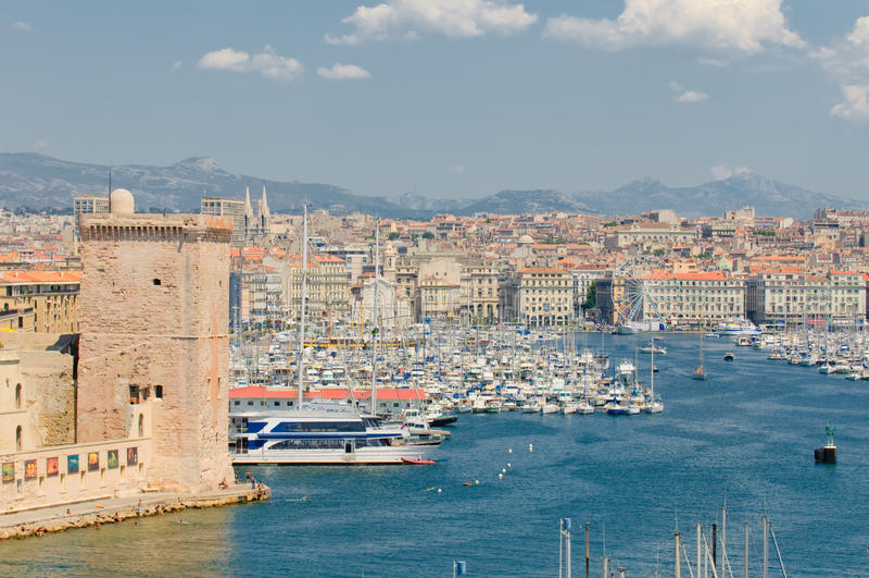 Vista panorámica de Marsella y del acceso viejo foto de archivo