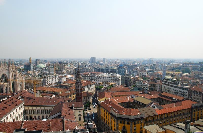 Vista panorámica de Milano, Italia fotos de archivo