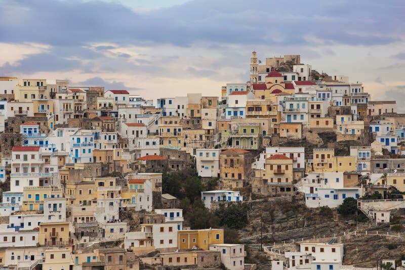 Vista panorámica de Olympos en la isla de Karpathos, Dodecanese Grecia fotos de archivo