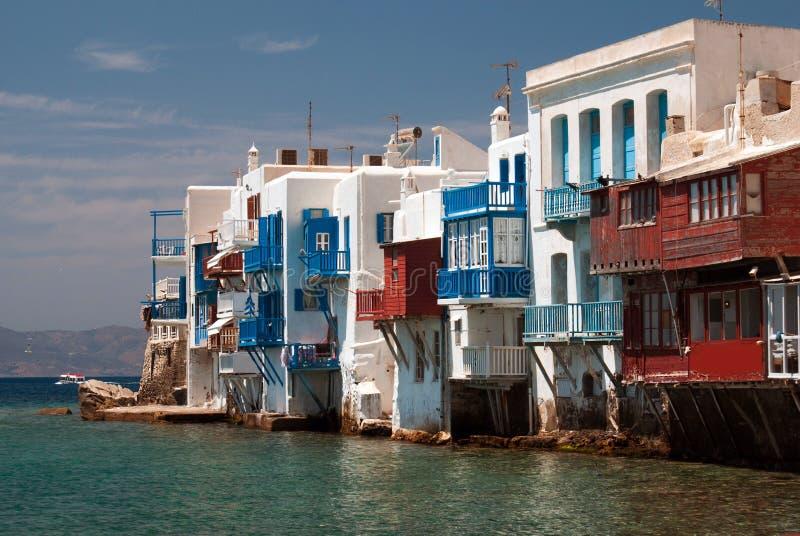 Vista panorámica de poca Venecia en la isla de Mykonos imágenes de archivo libres de regalías