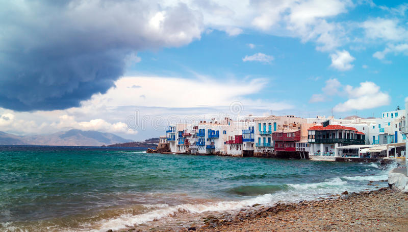 Vista panorámica de poca Venecia en la isla de Mykonos foto de archivo