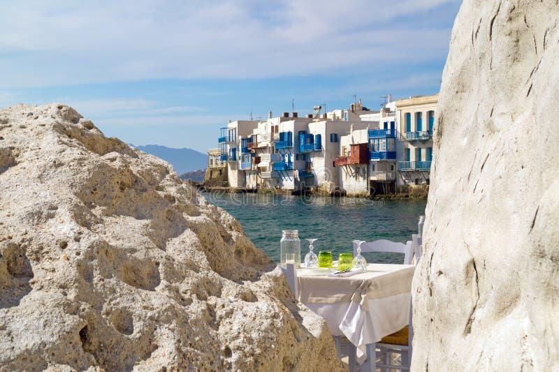 Vista panorámica de poca Venecia en la isla de Mykonos imagen de archivo libre de regalías