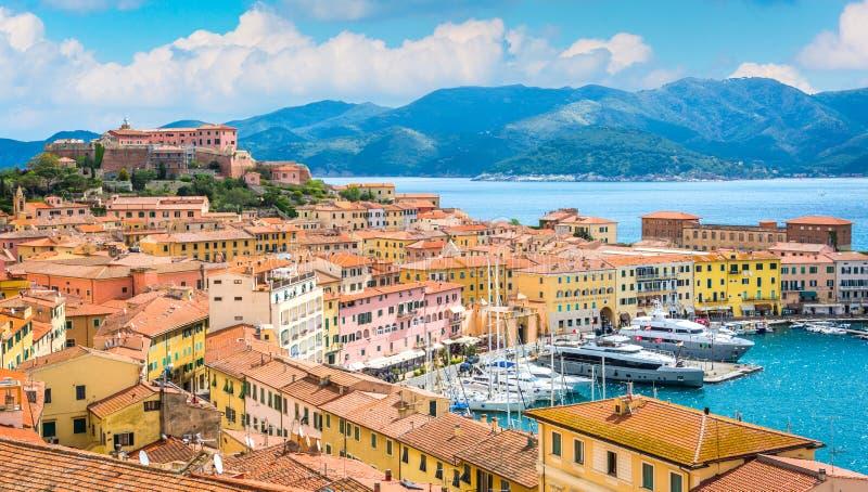 Vista panorámica de Portoferraio en Elba Island, Toscana, Italia foto de archivo libre de regalías
