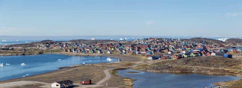 Vista panorámica de Qeqertarsuaq, Groenlandia fotografía de archivo
