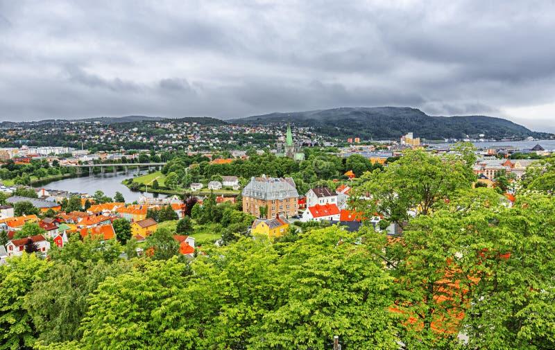 Vista panorámica de Strondheim, Noruega fotografía de archivo libre de regalías