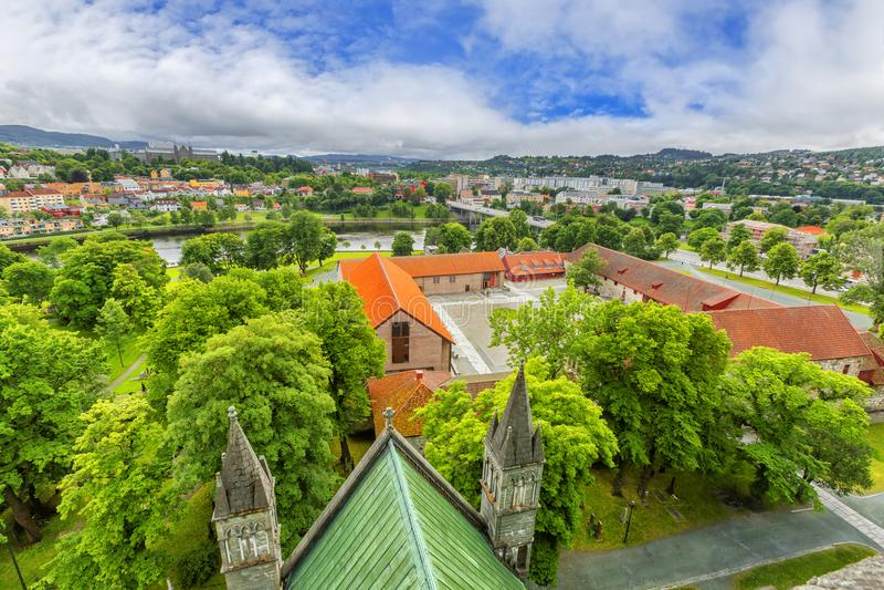 Vista panorámica de Strondheim noruega imagen de archivo libre de regalías