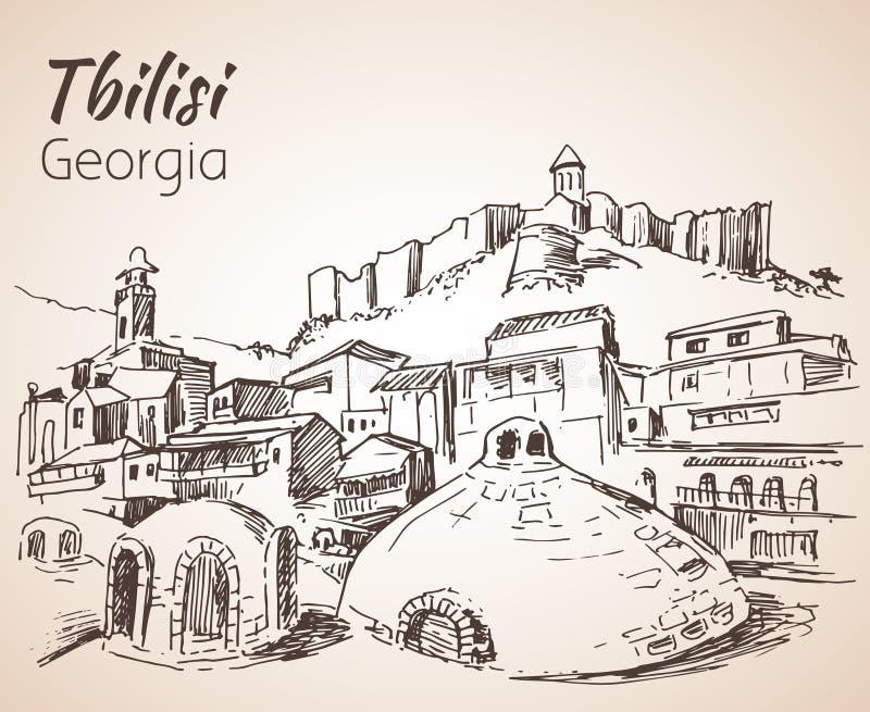 Vista panorámica de Tbilisi vieja, Georgia libre illustration