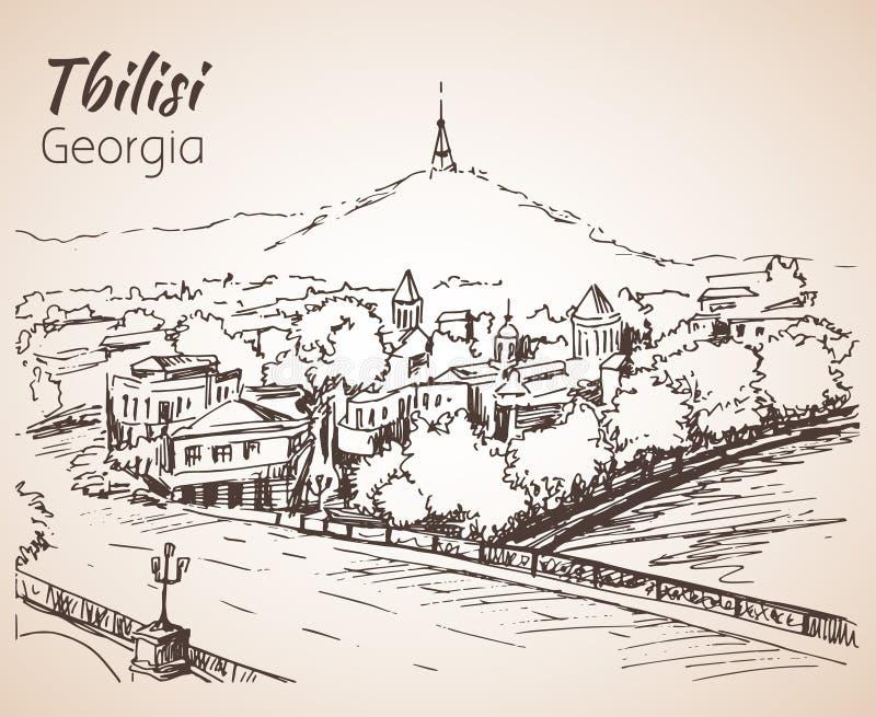 Vista panorámica de Tbilisi vieja, Georgia ilustración del vector