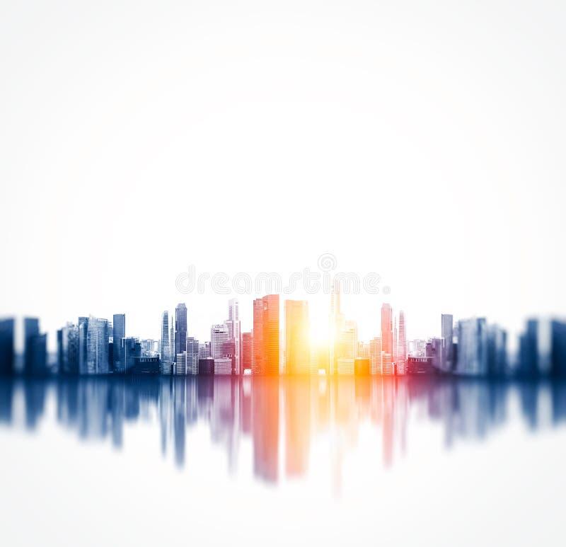 Vista panorámica de una megalópoli con la reflexión fotos de archivo libres de regalías